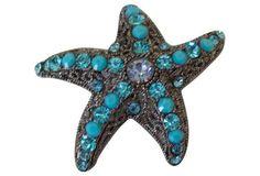 Aqua Rhinestone Starfish Brooch.