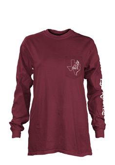 Display your Texas A&M Aggies spirit in this Texas A&M Maroon T-Shirt! This Texas A&M Flynn Long Sleeve T-Shirt makes a great layer for cooler nights cheering on the Aggies. Featuring a screen print team logo on left chest pocket, team name down left arm, and team graphic on back, this Texas A&M Aggies Long Sleeve LS Tee is a must-have for any fan. Gig 'Em!