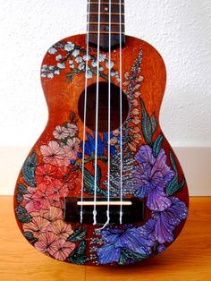 Hand Paint a Ukelele handpainted ukulele by suzanne van gils Guitar Painting, Guitar Art, Arte Do Ukulele, Ukulele Drawing, Cassandra Calin, Painted Ukulele, Painted Guitars, Ukulele Design, Art Hoe