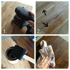 How to stain IKEA butcher block from ThriftyDecorChick ~~
