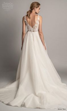 f56a6d7372c jenny yoo spring 2019 bridal sleeveless with strap deep v neck heavily  embellished bodice tiered skirt