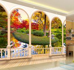 papier peint trompe l'oeil effet 3d personnalisé paysage zen jardin traditionnel japonais