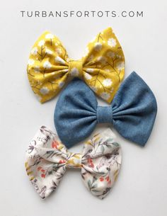 Spring-tastic : Baby Bow Set by turbansfortots on Etsy Newborn Hair Bows, Girl Hair Bows, Girls Bows, Baby Bows, Baby Headbands, Fabric Hair Bows, Handmade Baby Clothes, Baby Hair Accessories, Felt Bows
