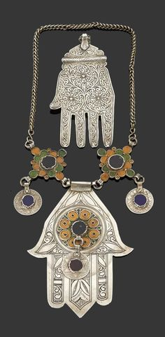 Morocco | Necklace and 'khamsa' pendant; silver, enamel and glass cabochons