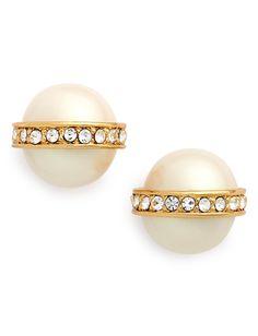 pearl  crystal stud earrings