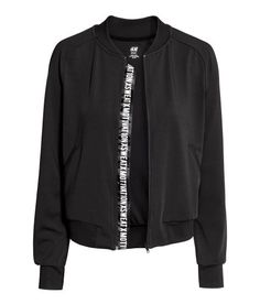 Check this out! Sports jacket in fast-drying, functional fabric with a ribbed stand-up collar. Zip at front, side pockets, long raglan sleeves, and ribbing at cuffs and hem. Unlined. - Visit hm.com to see more.
