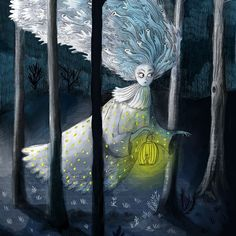A forest fairy roams in the dark she is looking for a little forest animal to trap in her lantern   #fairy #forest #fairytale #darkfairytale #illustration #kidlit #kidlitart #childrensillustration #whimsical