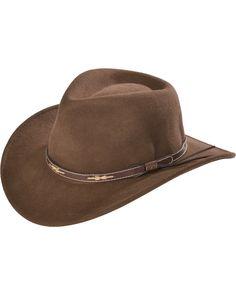 6a3cda4797222 Scala Khaki Wool Felt Leather Band Outback Hat
