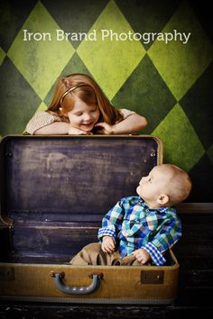 Brother and Sister, sibling, suitcase Natalie Eberhard Photography, Nevada, Missouri