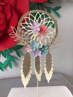 This beautiful dream catcher cake topper measures inches wide by inches tall (Colors can be customized) Bohemian Birthday Party, Wild One Birthday Party, Garden Birthday, 18th Birthday Party, Bohemian Party, Diy Birthday, Paper Flowers Craft, Flower Crafts, Dream Catcher Cake