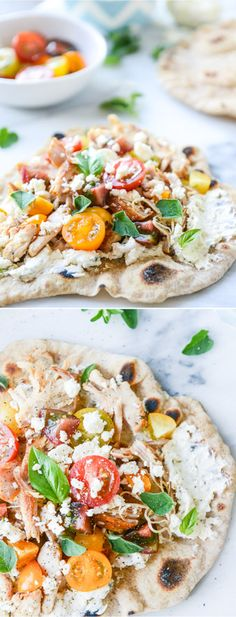 Grilled Chicken Pita Flatbreads with Creamy Feta Spread I howsweeteats.com