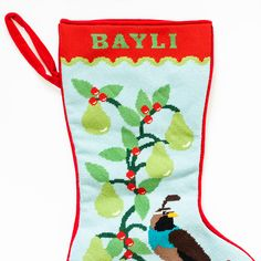 #Partridge In Pear Tree #Needlepoint #Stocking #Canvas Mesh Count: 14 per inch Canvas Size: 12.5 x 18.29 inches Print Size: 10.5 x 16.29 inches Number of Colors: 12 #HandMade on #Zweigart Mono Canvas, these canvases are made to your specifications. Colors, names, and font types can be adjusted to your preference.