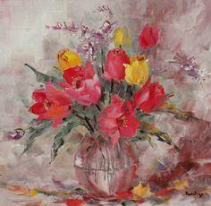 Se vede că aștept cu nerăbdare primăvara? :) Flower Art, Tulips, Painting, Art Floral, Painting Art, Paintings, Painted Canvas, Tulip, Drawings