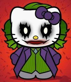 The Joker Hello Kitty Hello Kitty Drawing, Hello Kitty Cartoon, Hello Kitty Art, Hello Kitty Imagenes, Hello Kitty Halloween, Halloween Rocks, Hello Kitty Pictures, Horror, Hello Kitty Wallpaper