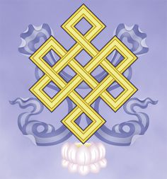 The sixth of the Eight Sacred Symbols: The Endless Knot - An auspicious geometric diagram, it symbolizes the unity of wisdom, great compassion and the illusory character of time. Tibetan Mandala, Tibetan Art, Tibetan Buddhism, Buddhist Art, Buddhism Symbols, Spiritual Symbols, Sacred Symbols, Tibetan Symbols, Tantra Art