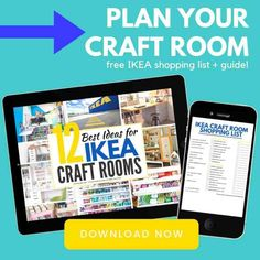 How to plan your IKEA craft room like a boss - storage ideas you need to know BEFORE you shop. BEST ikea craft room organization ideas and storage solutions, with a SHOPPING LIST to download and tips for planning the layout of your IKEA craft room. #smartfundiy #Ikeaalex #ikeaexpedit #ikea #craftroom #craftsposure #crafter