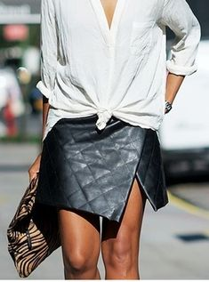 envelope leather skirt and sexy button down