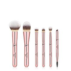 Exclusive makeup brush set includes 6 full-size brushes for face, eyes and brows, plus a chic case to carry them in style. Brow Brush, Concealer Brush, Makeup Brush Set, Brows, Eyeliner, Travel Brushes, Baby Shampoo, Brush Sets, Foundation Brush
