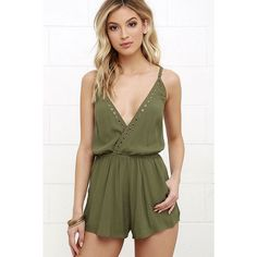 Second Look Olive Green Romper ($58) ❤ liked on Polyvore featuring jumpsuits, rompers, green, green romper, playsuit romper, olive green romper, gold romper and ruffle romper