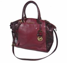534aaed945ce Michael Kors Riley Large Leather Satchel Bag Merlot #MichaelKors #Satchel  Satchel Bag, Leather
