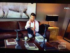 """The set on Bravo's """"Million Dollar Listing—New York"""" with star Luis D. Rialto Living, Bernhardt Furniture, Chair Side Table, Home Entertainment, Argos, Cocktail Tables, Home Furniture, Design Inspiration, Living Room"""