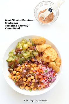 Chickpea Aloo Chaat Bowl with Date Tamarind Chutney