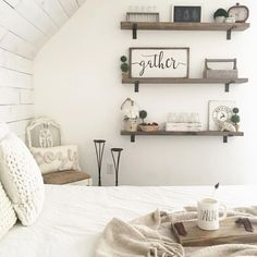 (Notice the wooden box with holder) Rustic Farmhouse Bedroom Decor Inspiration Ideas Post Roundup Farmhouse Master Bedroom, Master Bedroom Design, Bedroom Designs, Bedroom Rustic, Master Suite, One Bedroom Apartment, Home Decor Bedroom, Bedroom Ideas, Cozy Bedroom