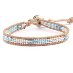 Blue Mix Single Wrap Bracelet on Beige Leather - Chan Luu leuke enkel wrap maar dan felle kleurtjes!