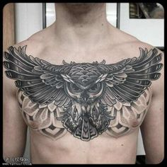 Chest Tattoo Ideas For Men - Stylendesigns -Awesome Chest Tattoo Ideas For Men - Stylendesigns - Owl Tattoo Chest, Full Chest Tattoos, Chest Tattoos For Women, Chest Piece Tattoos, Pieces Tattoo, Torso Tattoos, Bild Tattoos, Sleeve Tattoos, Tatuajes Tattoos