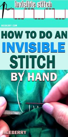 Invisible stitch: how to use it for fixing a tear and sewing invisible (blind) hems Step-by-step sewing tutorial on making an invisible stitch by hand so you can repair a tear in your favorite pillow or sew invisible hems Sewing Hems, Sewing Elastic, Sewing Clothes, Hand Sewing, Dress Sewing, Sewing Stitches By Hand, Crochet Stitches, Embroidery Stitches, Easy Sewing Projects