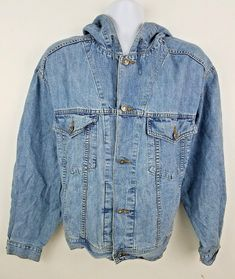 b44e02b8f GAP Denim Hooded 90s Men's Jean Jacket Sz M RARE #Gap #JeanJacket Denim  Button