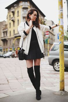 black dress and jacket with boots