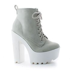 c386327c590c Gru Ice White Nubuck Lace Up Lug Sole Platform High Chunky Block Heel Ankle  Booties Chunky
