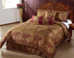 HINDU 7pc Comforter Set Brown, Gold, Burgundy Bed-in-a-bag QUEEN Size Bedding:Amazon:Home & Kitchen