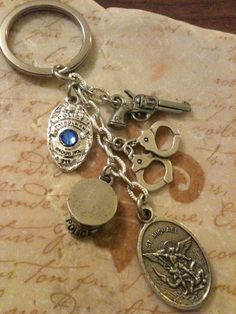 St Michael Law Enforcement Trinket Key Chain by DuneyBugDesigns, $22.00