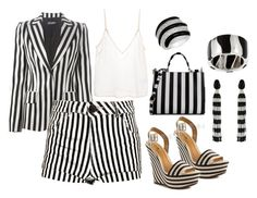 """Striped in Black and White"" by gabriele-bernhard ❤ liked on Polyvore featuring mode, Dolce&Gabbana, Boohoo, Schutz, Oscar de la Renta, Amen., Kabella Jewelry, Unlisted by Kenneth Cole, stripes et blackandwhite"