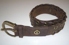 Michael Kors Brown Whipstitch Leather Grommet Belt Sz S Small #MichaelKors