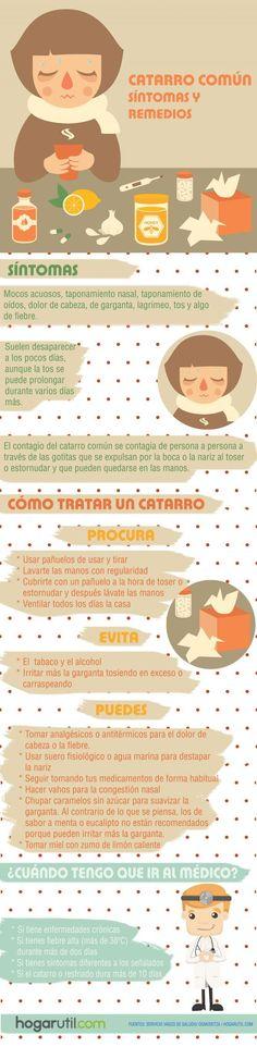 Remedios y síntomas del resfriado común. #resfriado #catarro #remedios #infografía