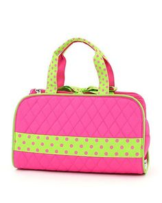 FUSCHIA AND LIME GREEN QUILTED SOLID 3PC COSMETIC BAG – The Mommy Boutique