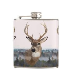 Whitetail Deer Double Exposure Flask