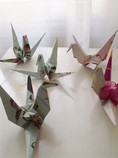 Origami crane, recycled paper