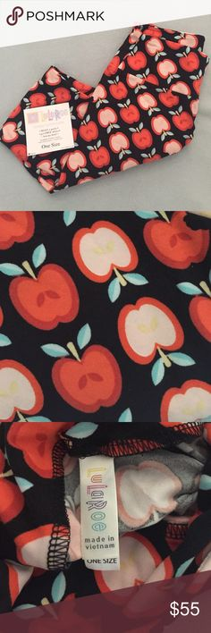 **UNICORN** OS LuLaRoe Apple  Leggings #teacher *UNICORN ALERT* These are OS Red, Apple Leggings made in Vietnam. They would be PERFECT for any teacher out there & a FABULOUS gift idea!!! The holidays are just around the corner! The colors are beautiful & notice the detail in the core! Black background with red apples, green/tealish stems. The light apples insides are light pink and have yellow seeds. So, so cute!     LuLaRoe Pants Leggings