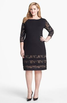 ABS by Allen Schwartz Lace Detail Sheath Dress (Plus Size) | Nordstrom