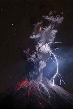 Colima Volcano in Mexico, powerful explosion and lightning captured together.