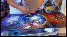 Angels and demons spray paint art. 20 min. long, but well worth it at the end - beautiful!