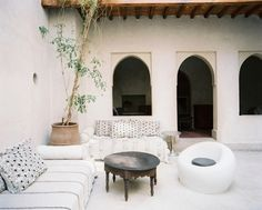 Moroccan Courtyards // outdoor bench inspiration!