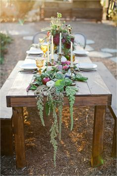 Farm to table florals/ White Pumpkins/ Herbs/ Vegetables Southern California Bride: Harvest-Inspired Engagement Party Shoot