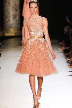 Elie Saab Fall 2012 Couture Collection - rose tulle and gold
