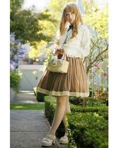 HMHM Shirred Sash Chocolate Lolita Skirts $38.99-Cotton Girs Lolita Dresses - My Lolita Dress