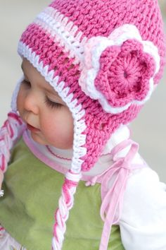 Triple Flower Pink Crochet Hat by rosytoesesboutique on Etsy